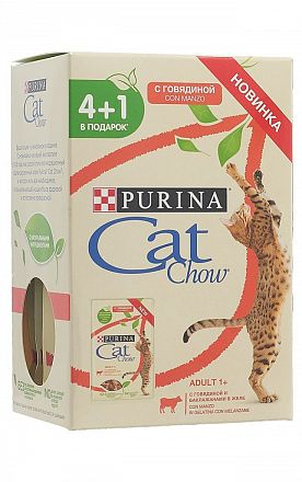 """CatChow Adult"" (85г*4+1) пауч для кошек из мяса говядины и баклажанами в желе"